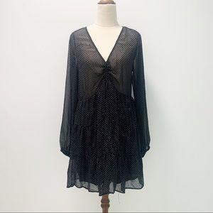 New Glassons Black Dot Longsleeve Dress Size 10